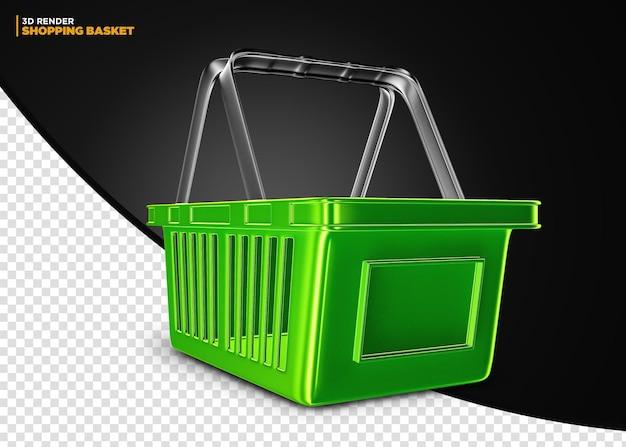 Cesta de compras de supermercado verde isolada para composição