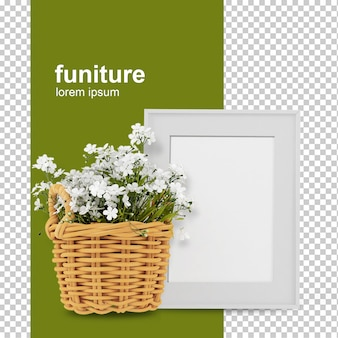 Cesta de flores com exibição de fonte com moldura vazia em renderização 3d