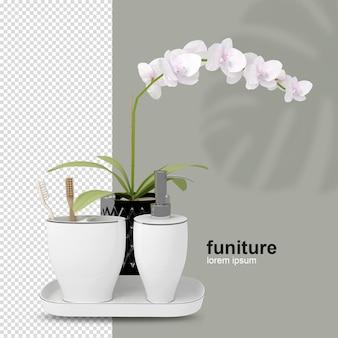 Cesta de flores com vista frontal em renderização 3d