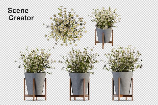Cesta de flores com vista frontal em renderização em 3d