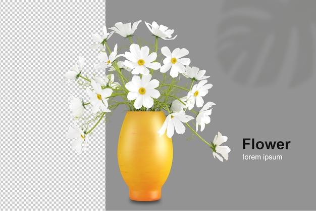 Cesta de flores em renderização 3d