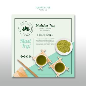 Chá matcha orgânico panfleto quadrado