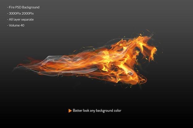 Chamas de fogo em preto