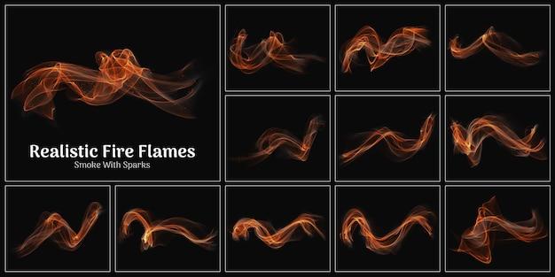 Chamas de fogo realistas, fumaça e coleção de faíscas