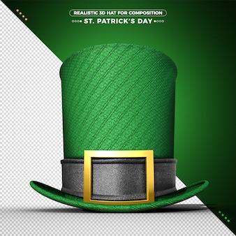 Chapéu 3d verde para renderização do dia de são patrício