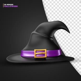 Chapéu de bruxa de halloween renderização em 3d para composição