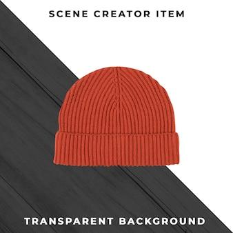 Chapéu de malha isolado com traçado de recorte.