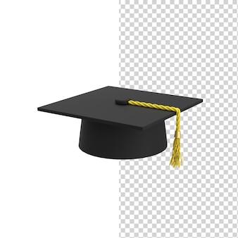 Chapéu ou boné de formatura acadêmico quadrado preto com modelo de renderização 3d tassel mortar board
