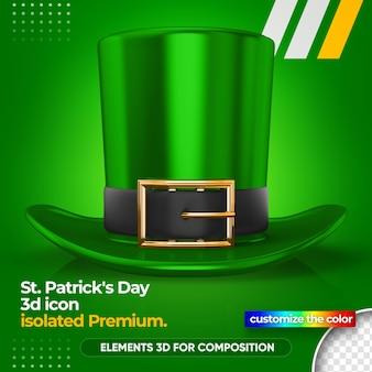 Chapéu verde 3d para renderização do dia de são patrício