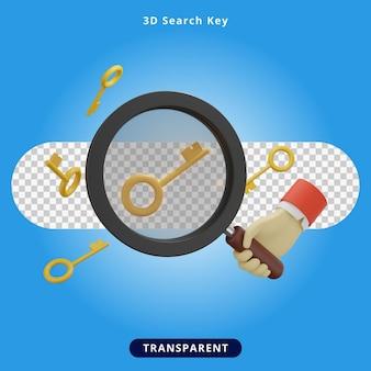 Chave de pesquisa de renderização 3d com ilustração de lupa