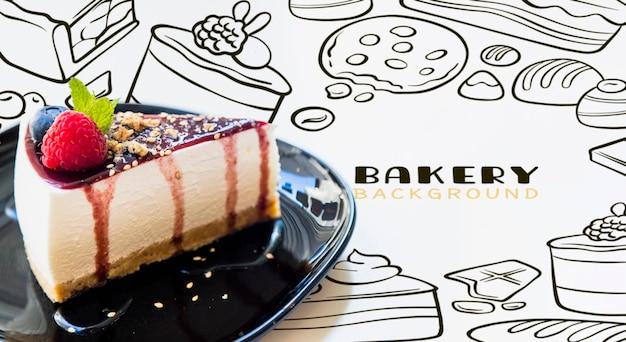 Cheesecake de xarope de vista frontal em um prato