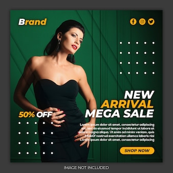 Chegada nova mega venda moda mídia social instagram banner psd premium