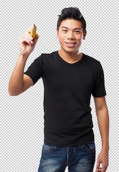 Chinês-homem legal com lápis