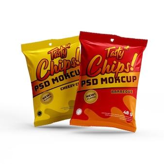 Chip de lanche matte doff saco de papel alumínio produto maquete de embalagem de alimentos vista frontal