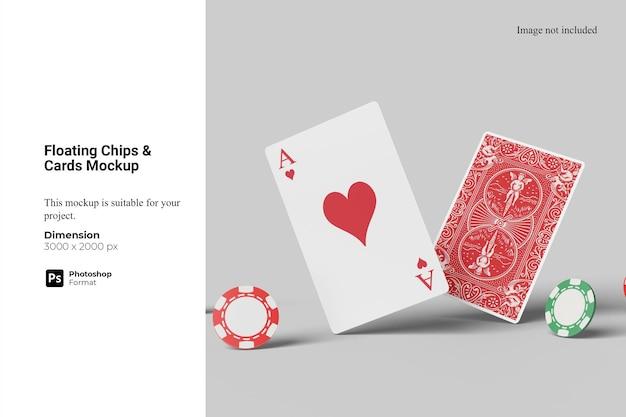 Chips flutuantes e maquete de cartões