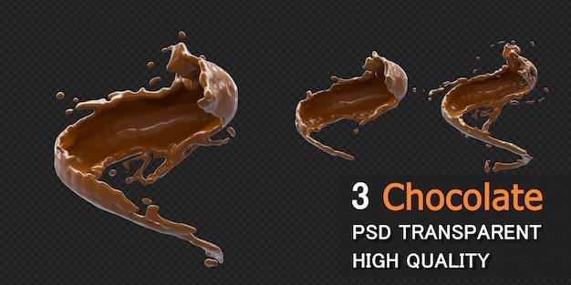Chocolate splash com gotas na renderização 3d isoladas