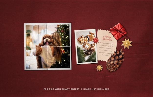 Christmas greeting photo paper film frame moodboard mockup