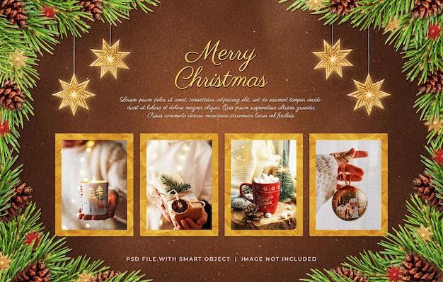 Christmas photo paper film frames moodboard mockup
