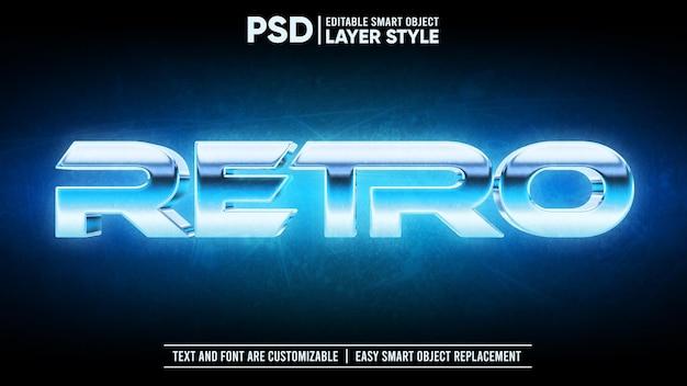 Chrome metallic shiny retro vintage 3d editable layer style efeito de texto