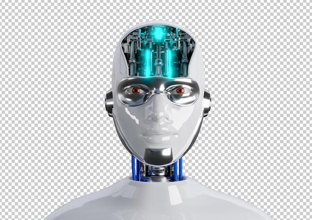 Ciborgue com cara de mulher humanóide coberta com