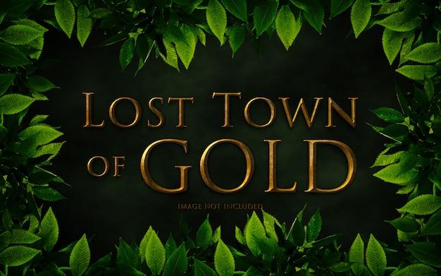 Cidade perdida de maquete de efeito de texto de ouro
