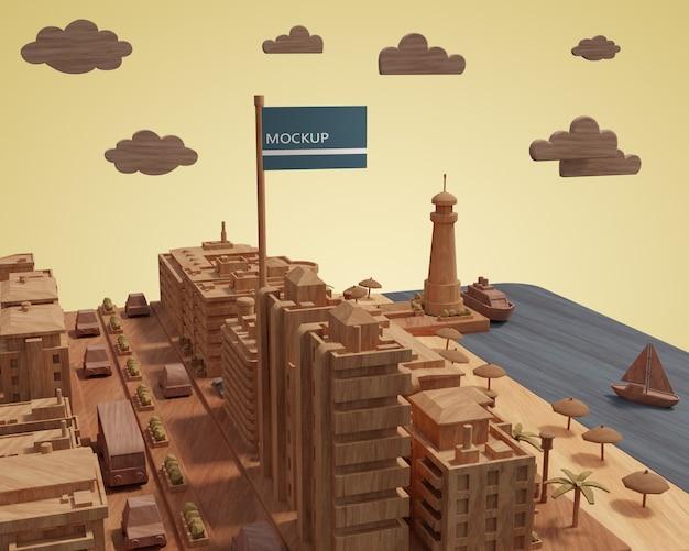 Cidades dia mundial 3d miniatura