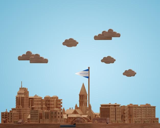Cidades dia mundial edifícios modelo miniatura