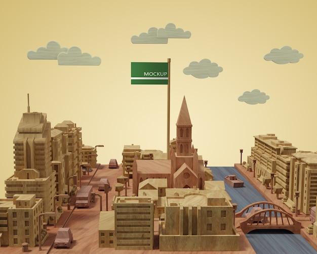 Cidades dia mundial modelo 3d edifícios