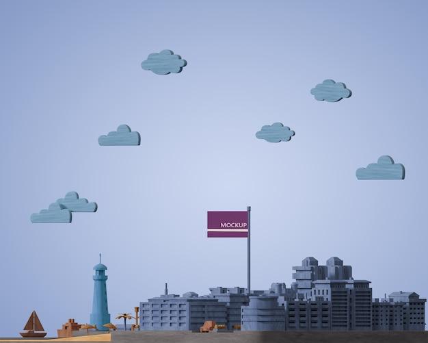 Cidades dia mundial modelo 3d em miniatura