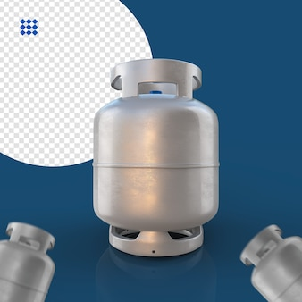 Cilindro de gás prata isolado