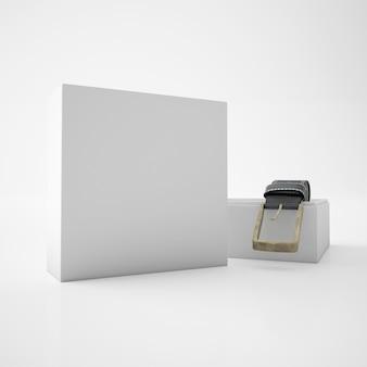 Cinto enrolado dentro de uma caixa branca
