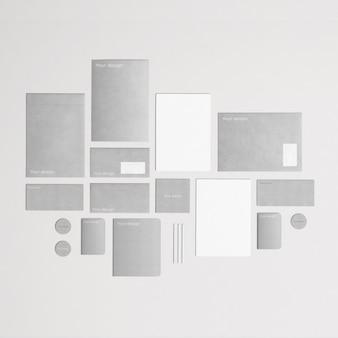 Cinza e artigos de papelaria corporativa elegante em vista de cima