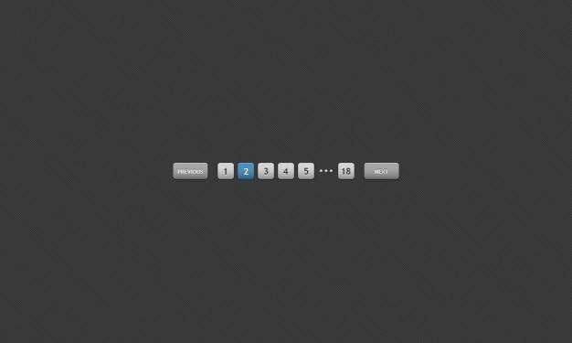 Cinza interface de paginação psd