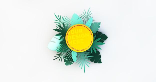 Círculo de papel com folhas de palmeira tropical. renderização 3d