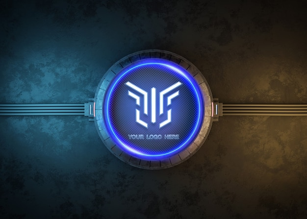 Círculo futurista para maquete de logotipo