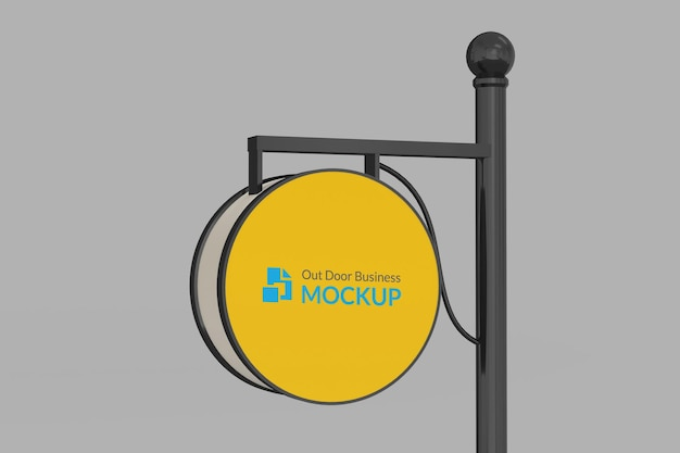 Círculo sinal ao ar livre logotipo maquete 3d realista