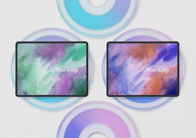 Círculos de vidro com coleção de tablet