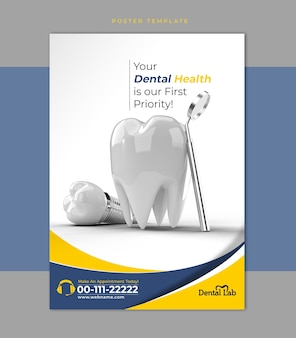 Cirurgia de implantes dentários conceito flyer poster modelo de banner.