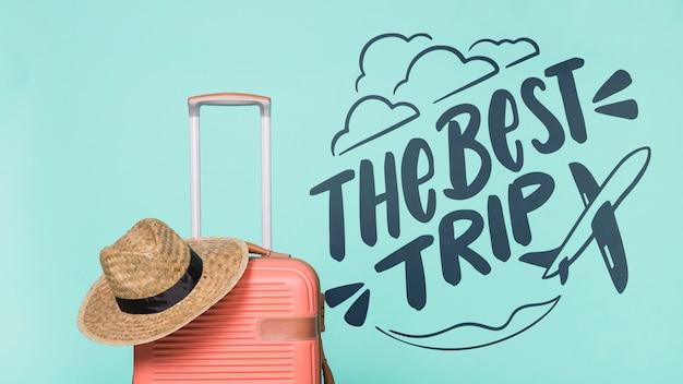Citação de rotulação motivacional para férias viajando conceito
