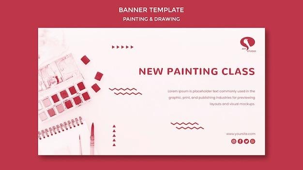Classes de desenho e pintura modelo de banner