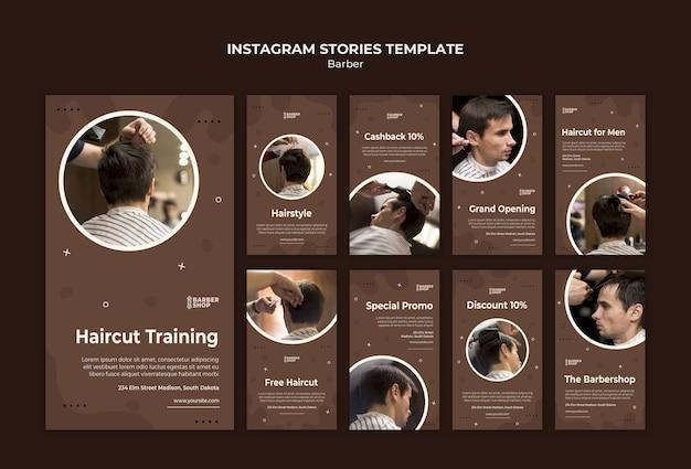 Cliente na barbearia histórias do instagram