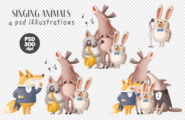 Clipart de animais cantando
