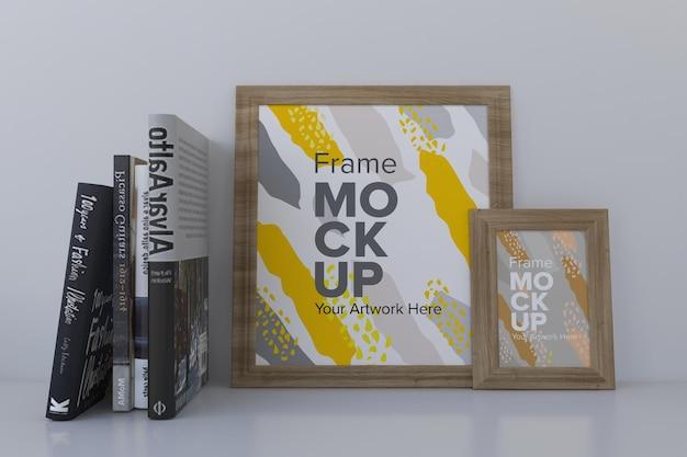 Close da maquete de quadros com livros na estante