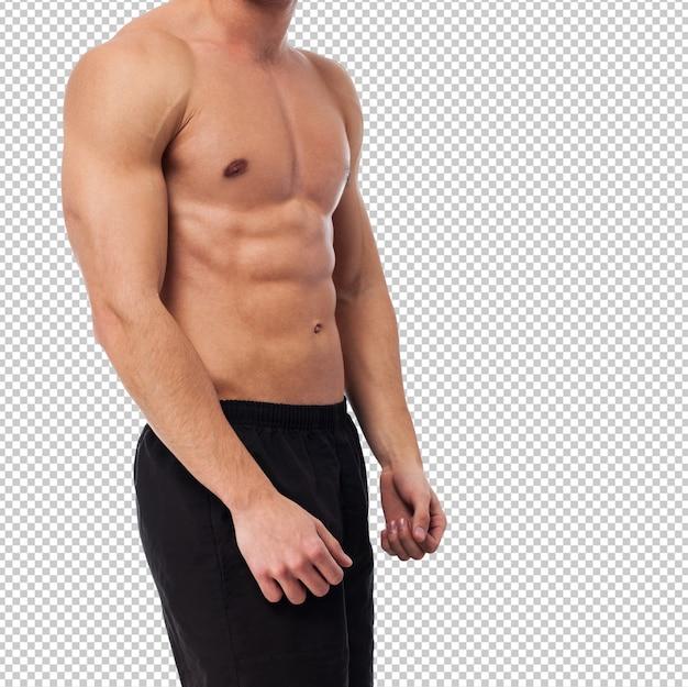 Close de um corpo de fitness força sobre branco
