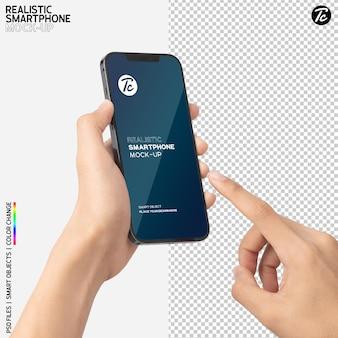 Close-up de mão segurando e usando maquete de smartphone