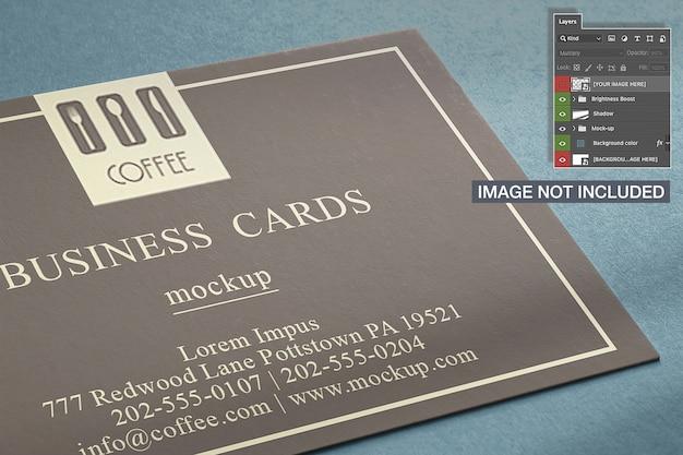 Close-up de maquete de cartão horizontal