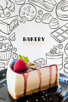 Close-up, de, saboroso, cheesecake, ligado, um, prato