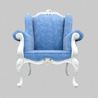 Close-up do sofá branco azul renderizando o ângulo isolado da frente