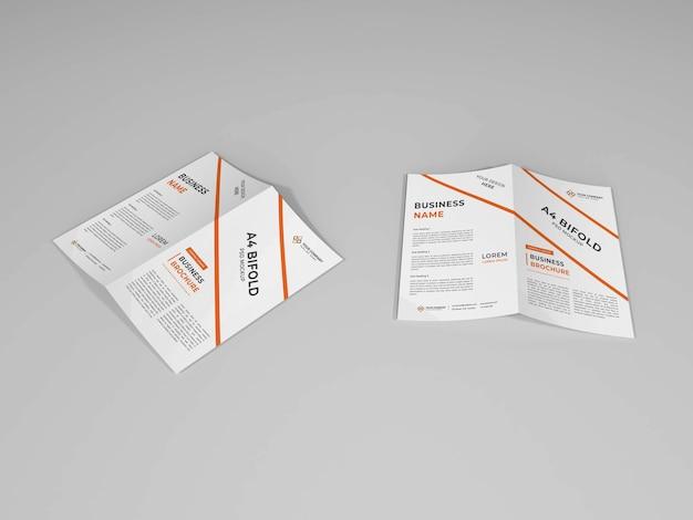 Close-up em bifold brochure mockup isolated