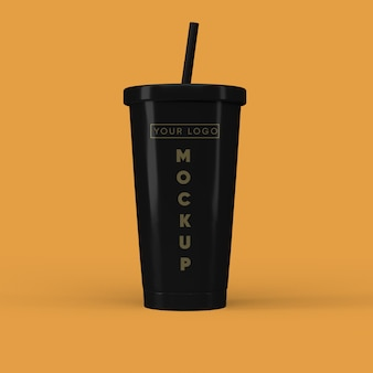 Close-up em coffee cup mockup isolated
